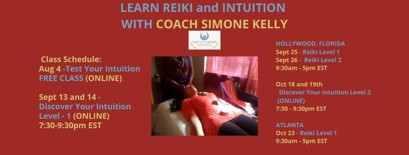 LEARN REIKI and INTUITION WITH COACH SIMONE KELLY